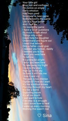 A more recent poem I wrote. I miss my dad so very much and suicide leave so many…