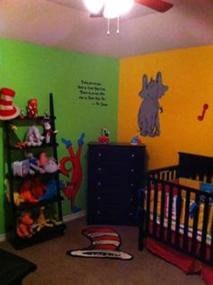 The custom made bedding we found on Etsy was the inspiration for most of the Dr Seuss baby room ideas especially the baby's nursery wall paint color scheme.