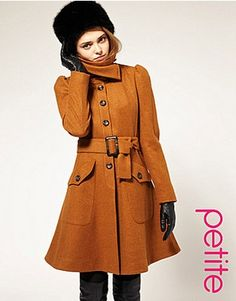 ASOS PETITE Fit And Flare Coat With Belt