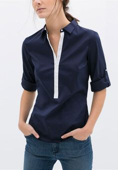 Sheinside Basics: Navy and White Lapel Long Sleeve Buttons Blouse