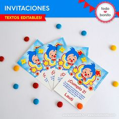 Plim Plim: invitación para imprimir 3rd Birthday, Happy Birthday, Baby Shower, Ideas Para Fiestas, Fiesta Party, Circus Party, Some Ideas, First Birthdays, Triangle