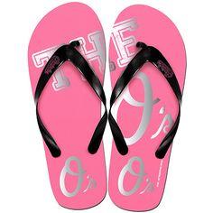 Baltimore Orioles Womens Pink Flip Flops