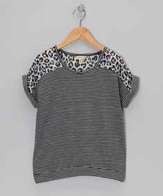 Take a look at this White & Black Stripe Leopard Top by Speechless on #zulily today!