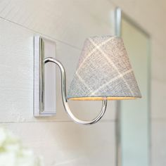 Bathroom Candle Shade in Stirling Check Lovat Wool Bathroom Candles, Bathroom Wall Lights, Bathroom Lighting, Wall Lamps, Window Furniture, Modern Properties, Candle Shades, Curtain Poles, Mirror With Lights