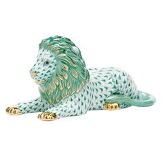 """Herend Hand Painted Porcelain Figurine """"Lion"""" Green Fishnet Gold Accents."""