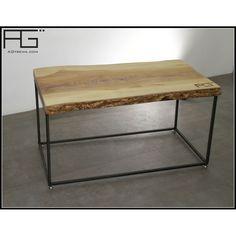 Table Basse Industrielle Bords Bruts Avec Corce Live Edge Dimensions Sur Mesure