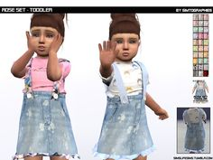 The Sims 4 Rose Set Toddler Version by simslifesims Toddler Cc Sims 4, Sims 4 Toddler Clothes, Sims 4 Cc Kids Clothing, Sims 4 Mods Clothes, Toddler Boy Outfits, Kids Outfits, Toddler Dress, Toddler Chores, Children Clothing