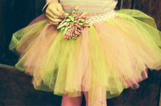 Pink and Green tutu with corkscrew bow by RMbowers on Etsy