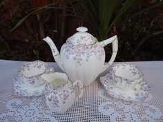 Antique Wileman Foley pre-Shelley Lilac Coffee service | eBay