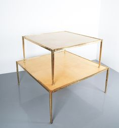 Parchment Square Solid Brass Coffee Table, France, 1965