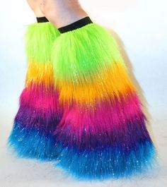 Neon Confetti Furry Leg Warmers Rave Boot Covers Fancy Dress Costume Accessory