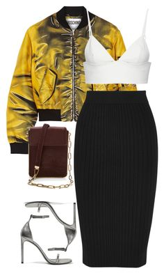 A fashion look from January 2017 featuring leather crop top, patterned bomber jacket and ribbed midi skirt. Browse and shop related looks. Dope Fashion, Girl Fashion, Fashion Outfits, Womens Fashion, Fashion Design, Casual Skirt Outfits, Cute Outfits, Night Outfits, Look Girl