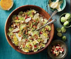 Brussels Sprout Slaw with Apples and Pecans - This salad has a brightness from the lemon and olive oil dressing and salty punch from Parmesan cheese, but apples and pecans add a little sweetness and crunch. http://www.southernliving.com/recipes/brussels-sprout-slaw-apples-pecans-recipe