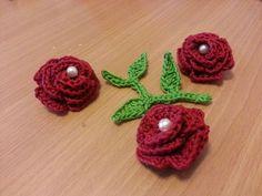 Crochet flower hair accessory hair pin set of 3 by TreeTownBear