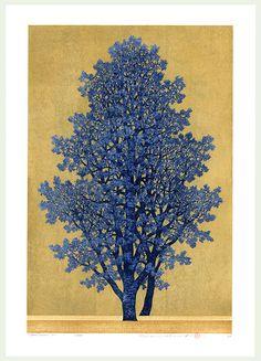 Treescene 130  by Hajime Namiki (Japanese woodblock print)
