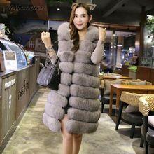 Высокое качество Мех жилет пальто роскошный искусственный лиса теплая Для женщин пальто Вязаные Жилеты для женщин модные зимние меха Для ж...(China)