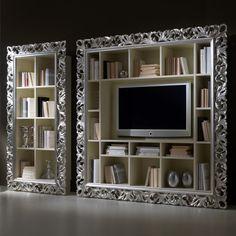 Large Silver Leaf Rococo TV Unit at Juliettes Interiors - Chelsea, London.