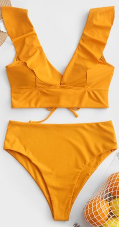Lace Up Flounce Plunge High Rise Tankini Swimsuit - Lace Up Flounce Plunge High Rise Tankini Swimsuit Just feel free to hit the beach in this bright tankini bathing suit and enjoy your vacation trip wit. Cute Swimsuits, Cute Bikinis, Women Swimsuits, Summer Suits, Summer Wear, Tankini Top, Como Fazer Short, Girls Bathing Suits, Yellow Bathing Suit