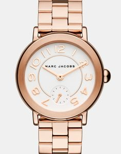 Montre pour femme : Marc Jacobs Women's Riley Rose Gold-Tone Stainless Steel Bracelet Watch – Gold Marc Jacobs Uhr, Marc Jacobs Dress, Cartier, Datejust Rolex, Rose Gold Watches, Wrist Watches, Stainless Steel Bracelet, Quartz Watch, Quartz Ring