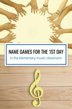 Name games for the first day in elementary music. Includes songs such as Hickety Tickety Bumblebee, Telephone Song, and Bounce High. Elementary Choir, Elementary Music Lessons, Music Lessons For Kids, Music Lesson Plans, Music For Kids, Name Games For Kids, Upper Elementary, Art Lessons, Music Education Activities