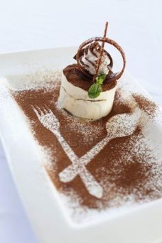 Image result for gourmet presentation of tiramisu ( love silverware outline )