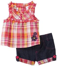 Carters Baby-Girls Infant Plaid Top With Ruffles And Denim Shorts