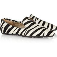 Jimmy Choo Wheel zebra-print calf hair loafers