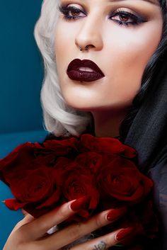 Melt Cosmetics 6six6 lipstick.  Super deep, vampy, new favorite high drama lip. highly pigmented, ultra-matte, super light formula.