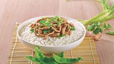 A simple and quick Chinese dinner with ginger and garlic pork, stir fried with snow peas.