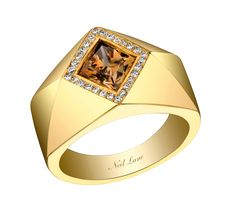 Neil Lane fancy colored lozenge shape diamond and 18K gold ring