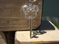 Disney Mickey Mouse Necklace Hidden Mickey Key Design Silver Scrollwork Charm
