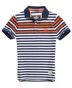 Mens - Infill Stripe Polo in Navy Mix | Superdry
