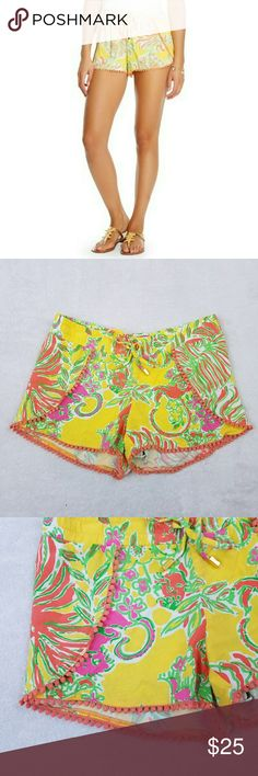 "Lilly Pulitzer For Target Challis Pom Pom Shorts Women's Lilly Pultizer for Target Challis Pom Pom Shorts  100% rayon Size XS Gently used EUC   Measurements laying flat:  Waist: 15""  Rise: 8""  Inseam: 4"" Lilly Pulitzer for Target Shorts"