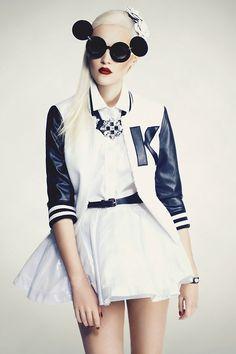 #whitefashion #womensfashion High Fashion Retro Mickey Glasses