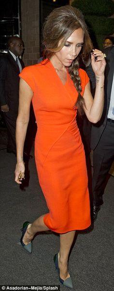 Victoria Beckham Versace Coat, Givenchy Shirt, Tangerine Dress, Orange Dress, Pretty Dresses, Dresses For Work, Victoria Beckham Style, Fashion Night