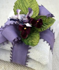 Lavender Sachets~Beautifully wrapped with  ribbon and millinery  flowers.