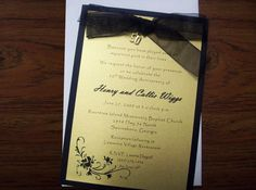 Gold and Black 50th Anniversary Invitation by SilverCloudDelights, $30.00