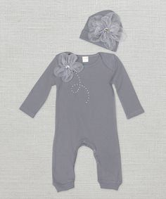 Love this Gray Floral Playsuit & Beanie - Infant on #zulily! #zulilyfinds #trufflesruffles