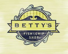 A bit of a modern/retro look -- Betty's Fish & Chip Shop by Phil Howard Typography Logo, Graphic Design Typography, Lettering, Typography Inspiration, Graphic Design Inspiration, Logo Design Trends, Branding Design, Ribbon Logo, Fish And Chip Shop