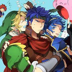 Super Smash Bros. - Ike, Marth, Link, Toon Link, Kibry, and Roy