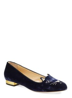 Cannot get over how cute these Charlotte Olympia velvet flats are! Pairing these beauties with skinny jeans, a mini-satchel, and a leather jacket for a chic, on-trend look.