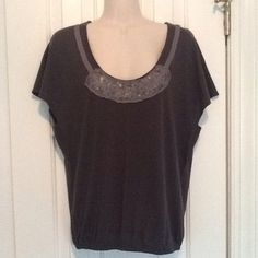 Charcoal gray American Eagle Outfitters tee Super soft 60% cotton/40% modal tee with elastic waist and ribbon and beading around neckline. Great weekend wear! American Eagle Outfitters Tops Tees - Short Sleeve