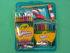 """My Work Rocks Box! Teacher made 2 NEW pencil boxes that contain a mechanical pencil, glue stick, eraser, scissors, and cool TWISTABLE crayons and colored pencils. Kids get to USE these special boxes for one day by producing NICE and NEAT work!  And they get to take a little award home and share with their parents.  Hopefully other students will be """"jealous"""" enough to try and earn the box for themselves."""