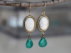 White Howlite, Russian Amazonite Drop, Brass Wire Wrapped, Dangle Earring on Etsy, $16.00