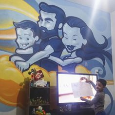 My family on the living room. #grafitti #illustration #art #wall #painting
