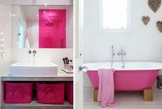 Le rose s'invite chez nous ! Clawfoot Bathtub, Corner Bathtub, Interior Design, Rose Fushia, Pink, Home Decor, Triplex, Bathrooms, Sport Quotes
