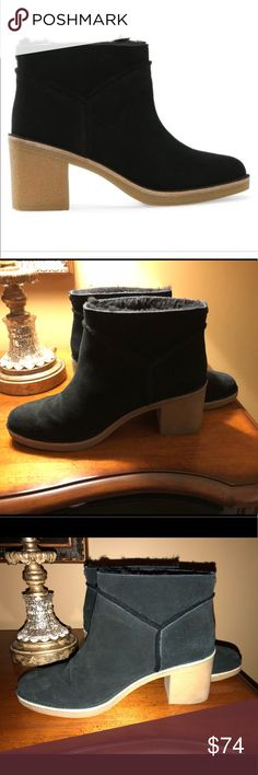 Ugg Kasen Ankle Boots. Size 11 Ugg ankle boots, black suede, 2 1/2 inch heel.  Black sheep skin interior. Very good quality and in good condition. Purchased this year at Macy's $150.  First and last Pics from websites to show style and shape of boot. UGG Shoes Ankle Boots & Booties