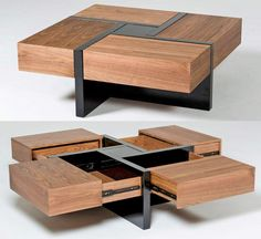 This Beautiful Wooden Coffee Table Has 4 Secret Drawers That Make For a Really Cool Design Modern Square Coffee Table, Unique Coffee Table, Coffee Table With Storage, Wooden Coffe Table, Wooden Coffee Table Designs, Wood Projects, Woodworking Projects, Woodworking Plans, Outdoor Projects