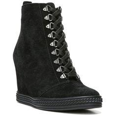 Caleres Black Jillian Wedge Sneaker - Women's ($130) ❤ liked on Polyvore featuring shoes, sneakers, black, wedged sneakers, wedge trainers, wedge sneakers, black wedge sneakers and black trainers