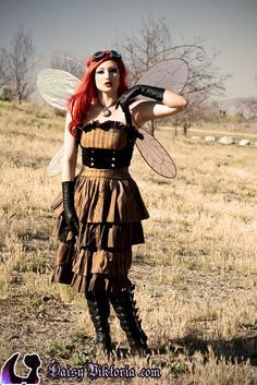 Love this dress and it looks so smashing with the gloves and boots. The wings might not work for everyday wear, but are fun for special occasions. I would switch out the goggles for a hat or fascinator or headband to make it more appropriate for daily tasks.